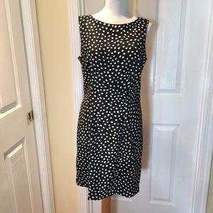 AB Studio Black/White Polka Dot Sheath Dress